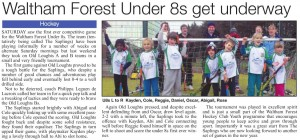 Newspaper article showing Under 8 kids playing first match
